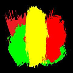 Abstract grunge painted scratched texture background . EPS10 vector illustration reggae colors green, yellow, red
