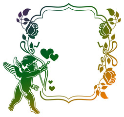 Color gradient frame with Cupid, roses and hearts. Copy space. Raster clip art.