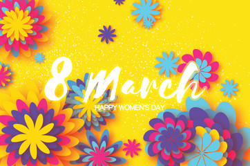 Colorful Paper Cut Flower. 8 March. Origami Women's Day. Space for text