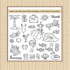Vector set with hand drawn doodles on the theme of summer, recreation, travel and tourism