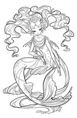 Illustration of pearl mermaid with curled hair, decorated with seashell elements. Black and white, anti-stress. Adult coloring books.