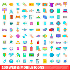 100 web and mobile icons set, cartoon style