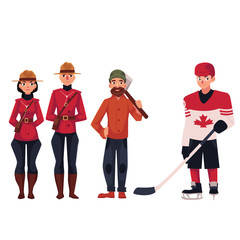 Canadian policeman, lumberjack and hockey player, cartoon vector illustration isolated on white background. Canadian mounted policemen in traditional uniform, hockey player and lumberjack