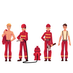 Set of firefighters in red uniform, protective suit with axe, fire hose, naked torso, cartoon vector illustration isolated on white background. Young handsome firefighter, fireman set