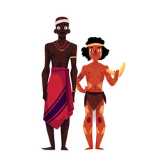 Native black skinned African tribal man and Australian aborigine, cartoon vector illustration isolated on white background. Full length portrait of African and Australian aborigines