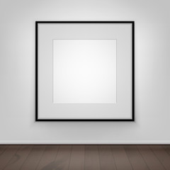 Vector Blank White Mock Up Poster Picture Black Frame on Wall with Brown Wooden Floor Front View