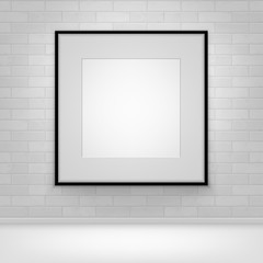 Empty Blank White Mock Up Poster Picture Black Frame on Brick all with Floor Front View