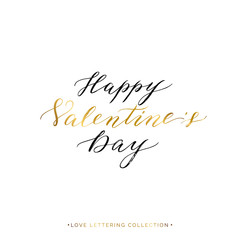 Happy Valentines Day gold text isolated on white background, hand painted letter, golden vector valentines day calligraphy for greeting card, invitation, wedding, save the date, handwritten lettering