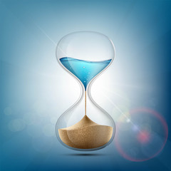 Water in hourglass becomes a sand. Stock vector.