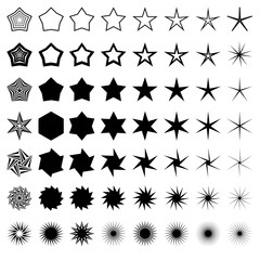 Vector Star icons set. Concept rating, success, awards. Collection star pictogram. Black star shapes. Simple icon sparkles. Symbols isolated on white. Stars with rays, explosion, fireworks, flash