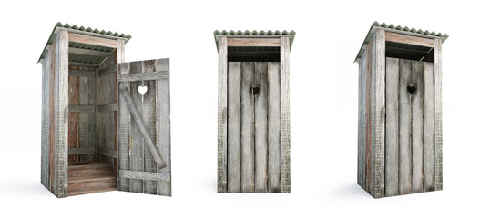 Outdoor toilet on a white background 3D illustration