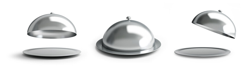 Open empty silver tray set on a white background 3D illustration