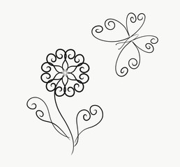 Coloring, elegant flower and butterflies, painted lines with swirls