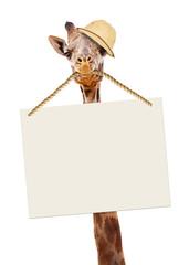 Funny Safari Giraffe Carrying Blank Sign