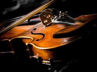 violin close up on black background
