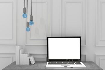 mock up laptop with lightbulb in white room in 3D rendering