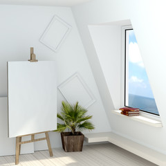 3d illustration of a free artist's studio with a window overlooking the sea. Attic artist with his easel, a blank canvas and white empty frame on the wall. High-quality rendering