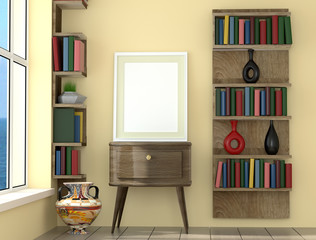 mock up poster layout frame with yellow  wall and books, interior background, 3D