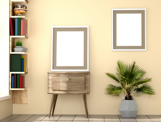 mock up poster layout frame with yellow wall, books and palm interior background, 3D