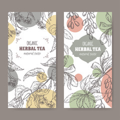 Two modern labels for linden and barberry herbal tea.