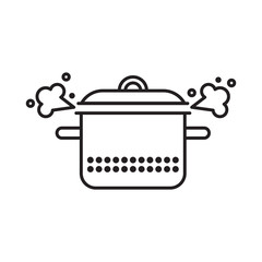 Black linear illustration of a saucepan with a cover and a steam cloud.