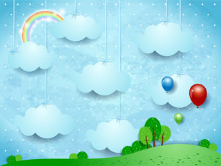 Printed kitchen splashbacks Light blue Surreal landscape with hanging clouds and balloons