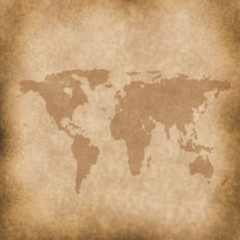 map on old grung paper background