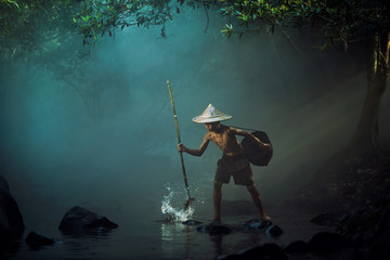 boy are fishing by gaff