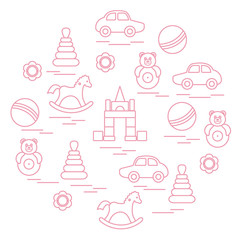 Vector illustration kids elements arranged in a circle: car, pyramid, roly-poly, ball, cubes, rocking horse, rattle.