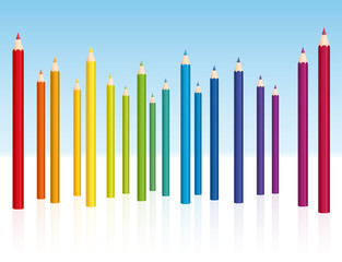 Crayons - colored pencil collection - vector illustration on white background.