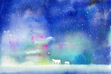 Polar bear, bear cub and northern lights. Winter landscape with animals and sky. Watercolor hand drawn illustration.