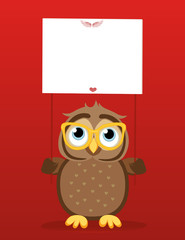 Cute colored owlet in glasses holding a blank poster Blank for your text