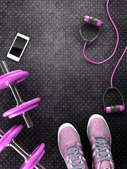Fitness background with dumbbells and Sneaker. View from above