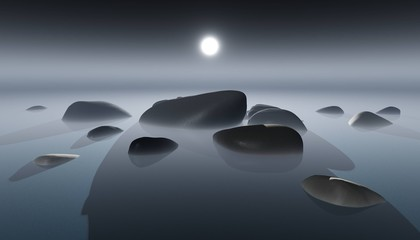 stones in the water and fog, river landscape stones