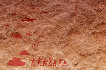 Painting on The surface of the sandstone .Imagine to the future of human.