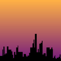 City sunset skyline urban landscape
