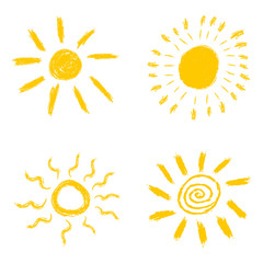 Set of hand drawn chalk sun icons. Vector illustration isolated on white background.