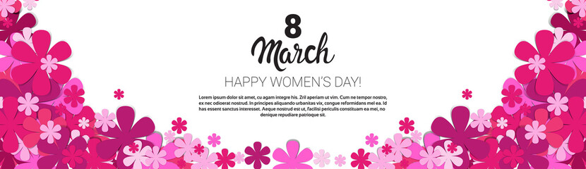 8 March International Women Day Greeting Card Banner Flat Vector Illustration