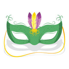 Illustration of Green Mardi Gras Mask with feathers
