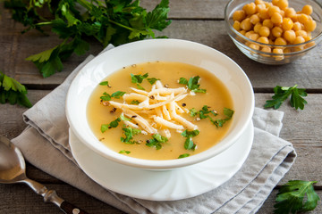 Chickpea Soup with Cheese and Parsley
