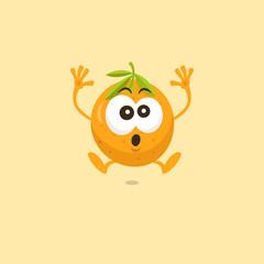 Illustration of cute orange scared mascot isolated on light orange background.