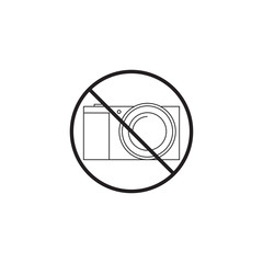no camera line icon, no photo prohibited sign, vector graphics, a linear pattern on a white background, eps 10.