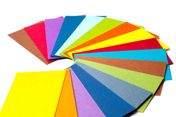 Colored cardboard palette, color catalog guide and paper samples