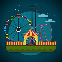 Amusement park with the Ferris wheel and the roller coaster attractions - stock vector illustration