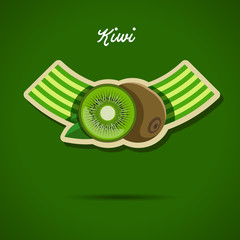 Emblem design with kiwi - stock vector illustration