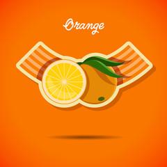 Emblem design with orange - stock vector illustration
