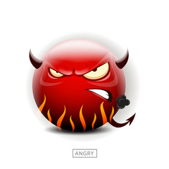 Emoticon angry like a devil - vector illustration