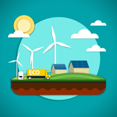 Vector illustration of the elements of the environmental technology such as wind power plant, solar battery and electric car which is preserving the environment