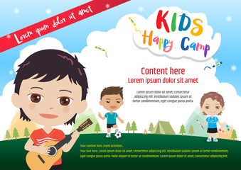 Colorful kids summer camp poster or banner template in cartoon style with various children activities music, painting and sport
