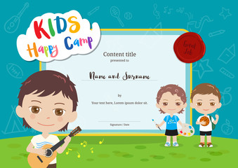Colorful kids summer camp certificate template in cartoon style with various children activities music, painting and sport